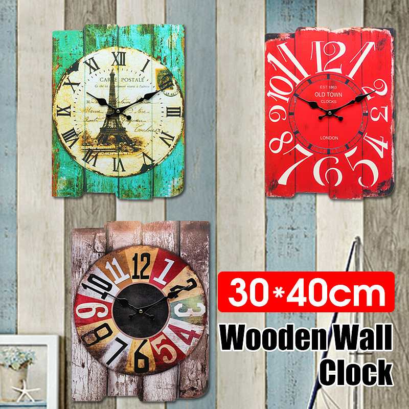 Cymii Green/Gray/Red Retro Vintage Silent Wooden Wall Clock Modern Design Simple Wall Hanging Clock Watch Home Coffee Shop Decor