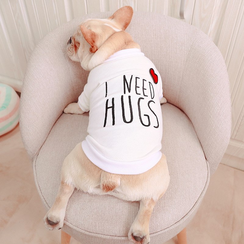 2019 Spring Summer Pet Dog Clothes Cotton HUGE ME Vest Leisure Print T Shirt Dog White Shirt Chihuahua Costumes For Dog Product image