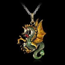 2016 Vintage Bronze Plated Enamel Fly Dragon Ribbon Sweater Chain Pendant Necklace Women Men Jewelry 4Colors