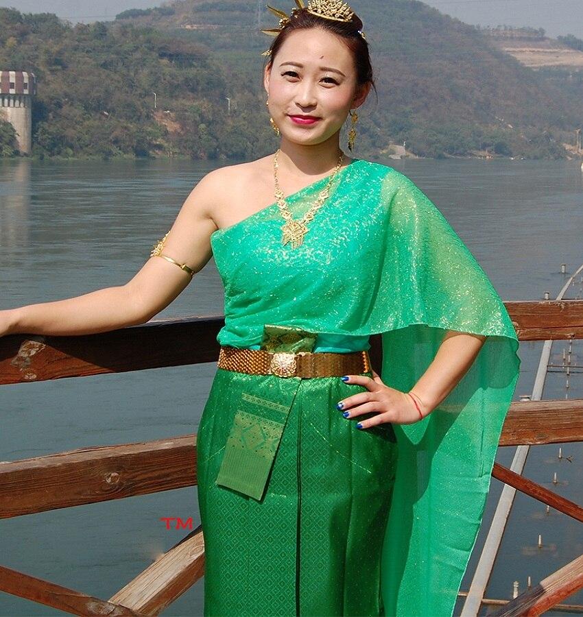 Тайланд традиционный стиль Зеленый Дай женская одежда поздравительное платье воды брызг фестиваль костюм без рукавов наряд