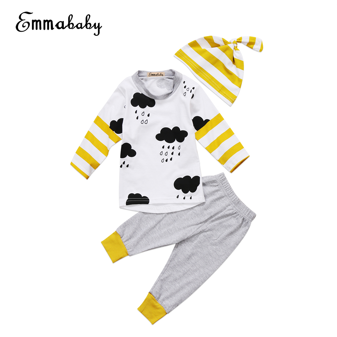 3PCS Newborn Kids Baby Boys Girls Outfit Clothes T-shirt Tops+Long Pants+Hat Set