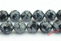 Freies Verschiffen 15 zoll strang schwarz schneeflocke obsidian faceted runde perlen 6 8 1012 14 mm Pick Größe Für schmuck Machen