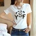 Nueva llegada 2016 del verano de los rhinestones 100% algodón de manga corta para mujer T-shirt flojo ocasional tops mujer t shirt mujeres camiseta de ropa