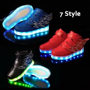 Image 2 - Baskets scintillantes pour enfants, chaussures de sport lumineuse avec semelle lumineuse, tailles 25 37, baskets à Led