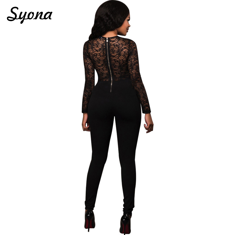 Casual Sexy Black LACE JUMPSUIT WOMENS ROMPERS Elegant Long Sleeve Zipper Back Overall Skinny Trousers High Waist Transparent