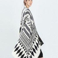 Şallar kadınlar için eşarp kadın kış sıcak faux kaşmir siyah beyaz Geometrik yün şal atkılar bayanlar Panço pelerinler womens hediye