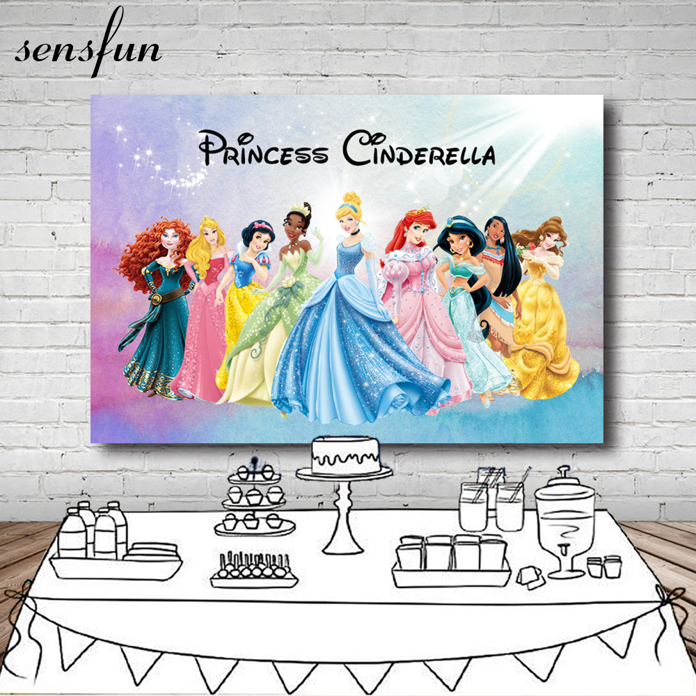 Sensfun Cartoon Princess Photography Backdrop Customized Girls Birthday Party Backgrounds For Photo Studio 7x5FT Vinyl