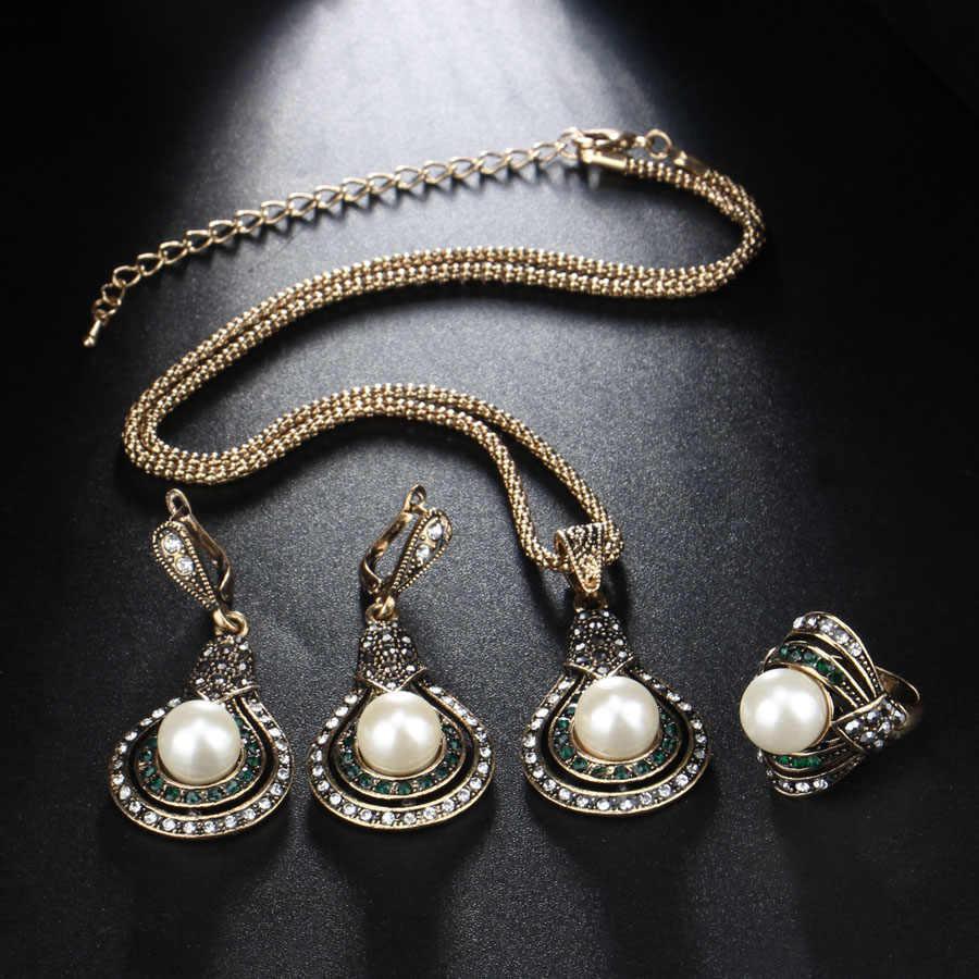 Kinel 3 sztuk zestawy biżuterii w stylu Vintage dla kobiet antyczne złote kolczyki z perłą naszyjnik pierścień Wedding Party kobieta turecki biżuteria