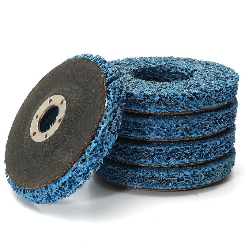 5pcs 110mm Angle Grinder Discs Poly Strip Wheels Blue For Metal Stone Paint Rust Removal Cleaning
