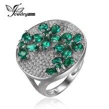 Nano Ruso JewelryPalac Verde Esmeralda Anillo de Cóctel Genuino Esterlina del Sólido 925 de Plata Pura Moda Al Por Mayor de La Vendimia Para Las Mujeres