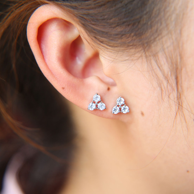 Simple High Quality Cz Triangle Stud Earring Second Three Cubic Zirconia Minimal Lovely