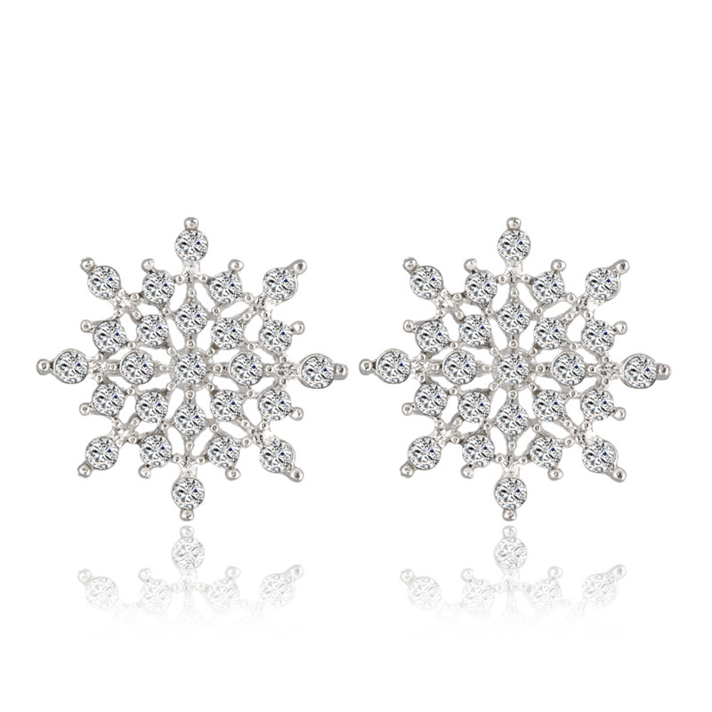 New Full Rhinestone Lucky Snow Flower Earrings For Women Fashion Jewelry E271