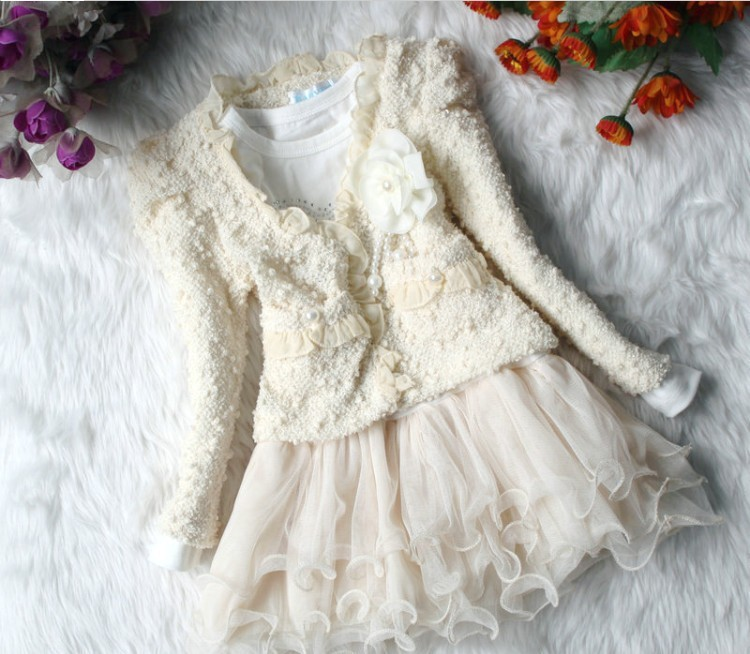 Anlencool baby girl Coat free Shipping Spring Girl Skirt Suit Bear Kids New Korean Ladies Lace Jumpsuit Weight Baby Clothing Set