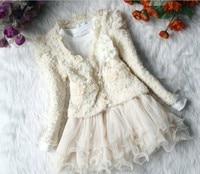 Anlencool bebek kız Ceket ücretsiz Nakliye Bahar Kız Etek Suit ayı Çocuklar Yeni Kore Bayanlar Dantel Tulum Ağırlık Bebek Giyim Set