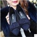 2016 zapatos del resorte de las mujeres pequeñas yardas 33 boca baja acentuada dedo del pie talón grueso solos zapatos de tacón alto más el tamaño 41 del arco zapatos