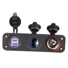1 Set 12V Car Cigarette Lighter Socket With LED 12V Dual Socket USB Adapter Charger With Car Cigarette Light