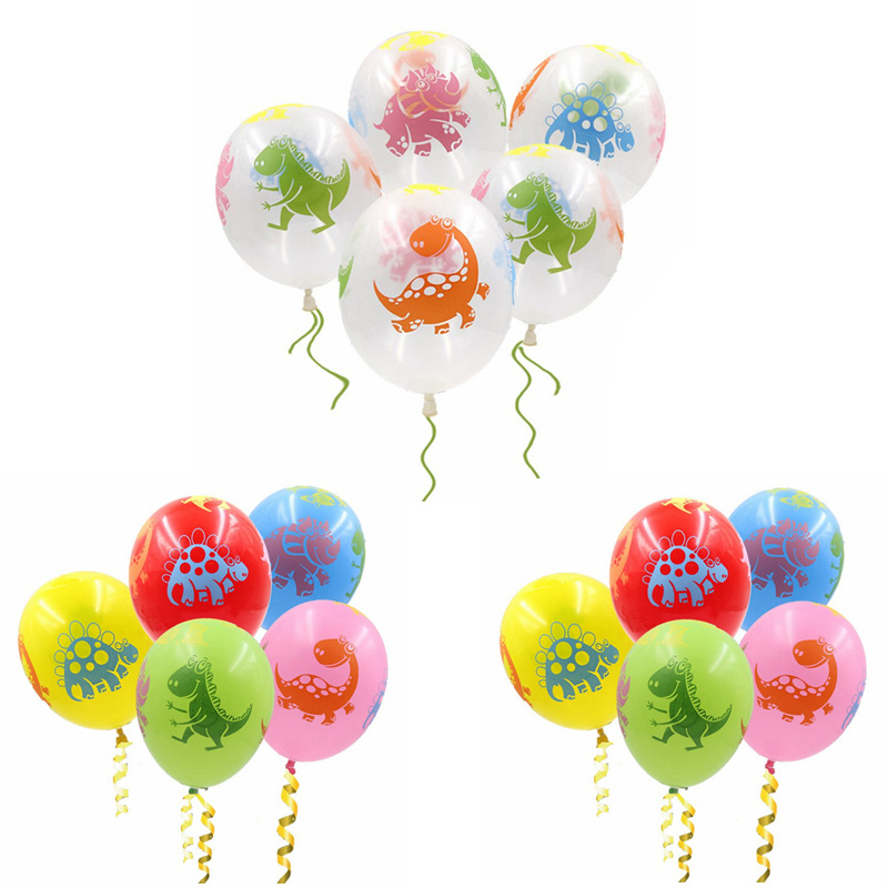 10Pcs 12Inch Mixed Color Dinosaur Latex Balloons Transparent Wedding Party Birthday Decorations Balloon Babyshower Theme Decor