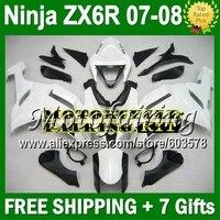 7gifts For KAWASAKI white black NINJA ZX 6R 07 08 07 08 HOT 10JM169 ZX 6R Gloss white ZX636 ZX 636 ZX6R 07 08 2007 2008 Fairing