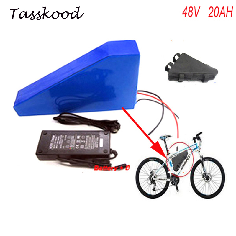 Free bag Triangle style 48V 20Ah battery for 48v Bafang / 8fun 1000w mid/center drive motor,48v 20AH Battery for Electric Bike electric bike lithium ion battery 48v 40ah lithium battery pack for 48v bafang 8fun 2000w 750w 1000w mid center drive motor