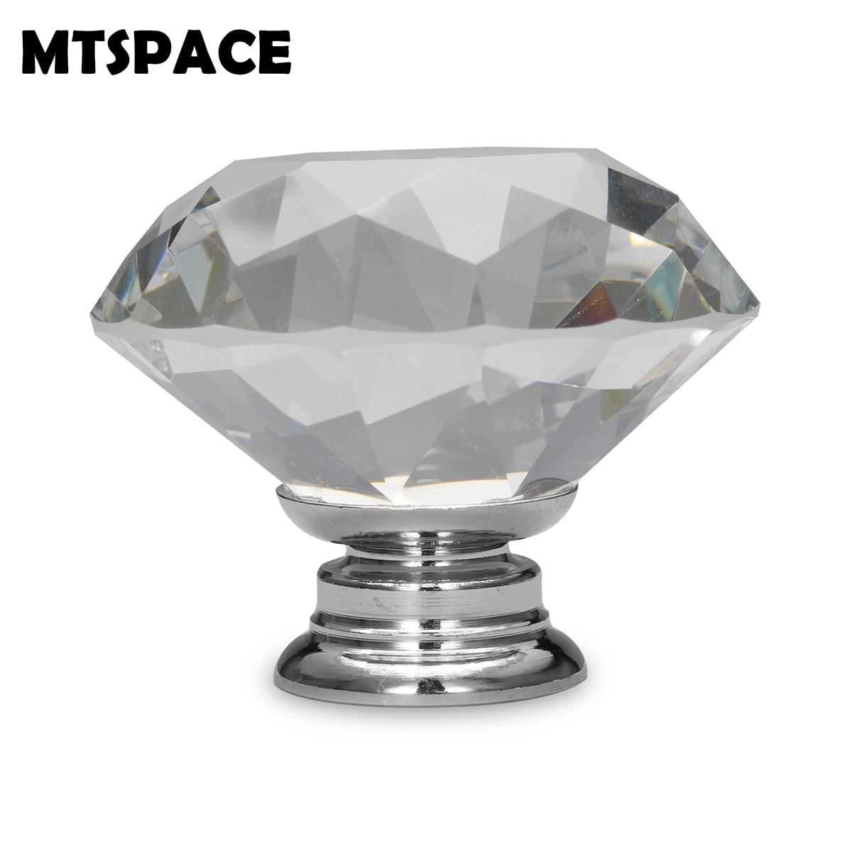 MTSPACE 1pcs 30mm Diamond Shape Design Crystal Glass Knobs Cupboard Drawer Pull Kitchen Cabinet Door Wardrobe Handles Hardware