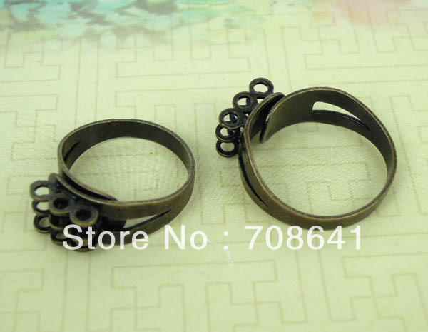 Blank Adjustable Ring Settings with 3 Rows Loops Caps Ring Bases DIY Jewelry Making Findings Multi