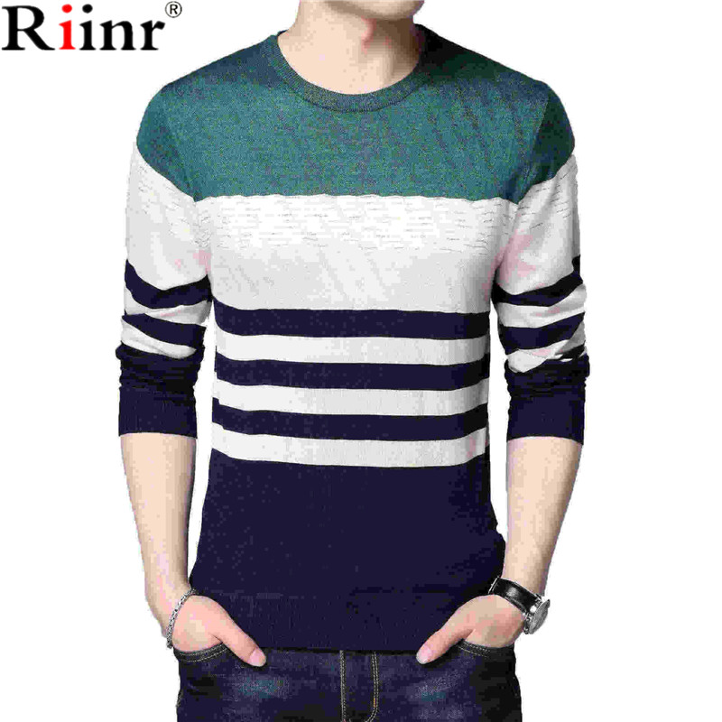 Riinr New O-Neck Pullover Men Brand Clothing 2018 Autumn Winter New Arrival Cashmere Wool Sweater Men Casual Striped Pull Men