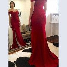 2019 Elegant Evening Dresses for Women Off the Shoulder V Neckline Side Slit Plus Size Red Evening Party Dresses