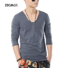 Zecmos swag männer langarm-t-shirt männlichen v-ausschnitt t-shirt für männer slim fit top tees