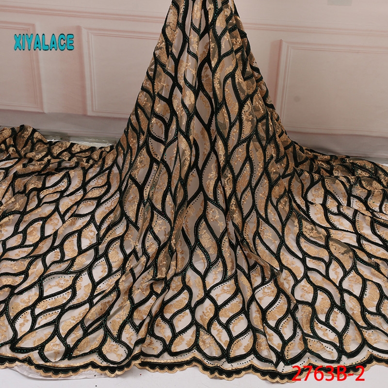 2019 Latest African Embroidery Tulle Lace Fabrics High Quality Stones French Velvet Lace Fabric For Party Dress 5 Yard YA2763B-2