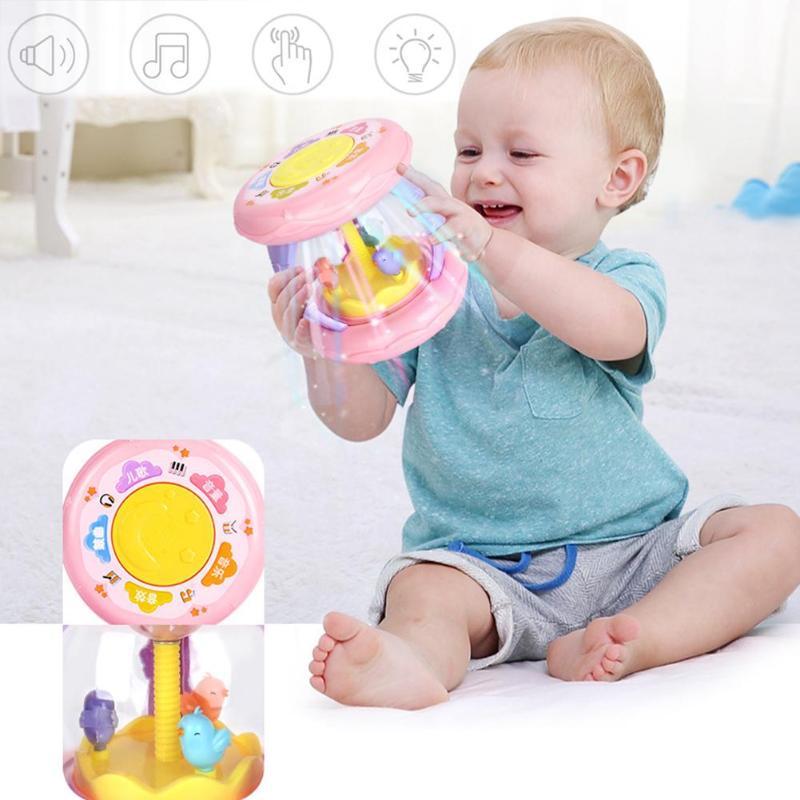 Bebé Musical tambor juguetes 360 giratoria colorida luz instrumentos musicales niños mano tambor bebé temprano educativo regalos