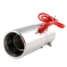 MAHAQI Universal car 70MM tail throat red Led fire-breathing exhaust pipe stainless steel motorcycle silencer Exhaust Muffler Pi