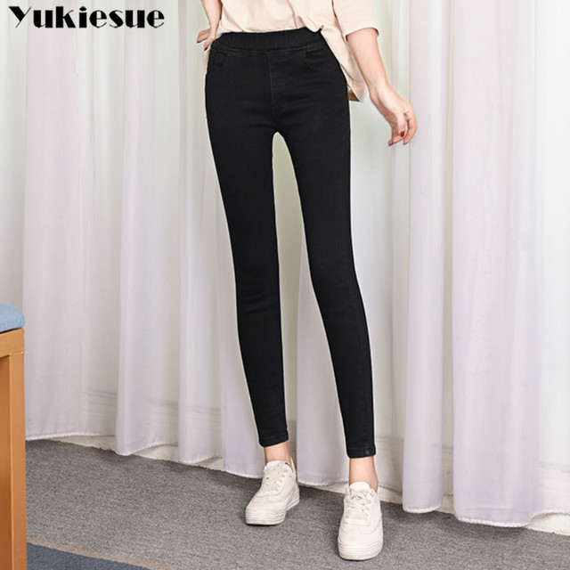 2019 Spring Summer Plus Size 5xl high Elastic Waist Stretch Ankle length push up mom Jeans for Women Skinny Pants Capris Jeans 2
