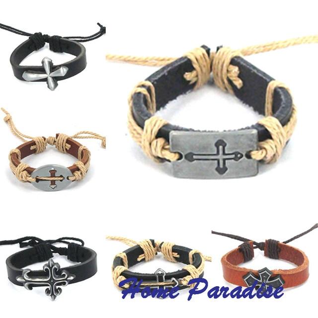 Euramerican Style Diy Bracelet Cross Symbol Leather Alloy Jewelry Men S Boyfriend Best Gift