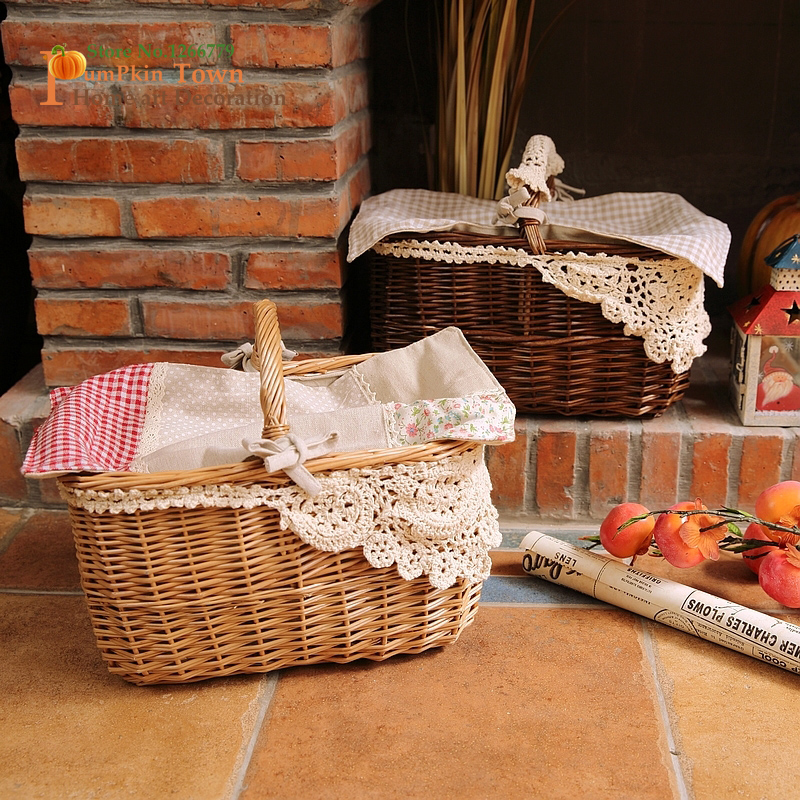 US $49.99 |Warm home wicker+fabric storage basket,outdoor handmade art  decoration basket,Nordic style fruit basket,bread basket,Food basket-in  Storage ...