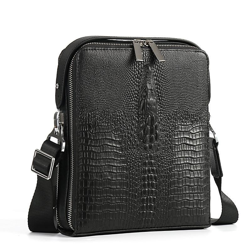Luxury Alligator Pattern Genuine Leather Bag Casual Shoulder Bag Classic Brand Designer Fashion Men Messenger Bags держатель для туалетной бумаги wasserkraft oder k 3059