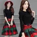 2016 осень женщин новый темперамент свитер платье из двух частей плед костюм моды Тонкий темперамент женщины