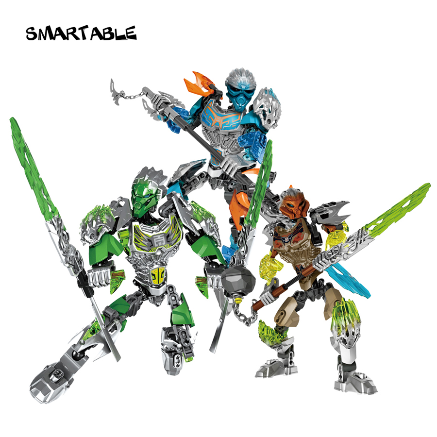 Smartable BIONICLE 3pcs Jungle Lewa Stone Pohatu Water Gali Figures 610 Building Block Toys for Boys თავსებადი Leoming BIONICLE