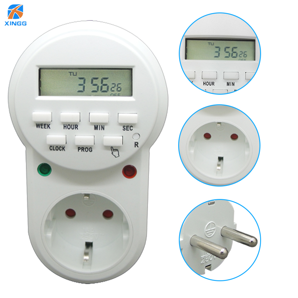 XINGG Smart Eu Electric Digital Timer Switch Plug Socket Europe ...