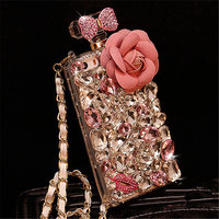 삼성 J5 J7 A7 2016 A8 A9 럭셔리 여자 다이아몬드 크리스탈 다채로운 라인 석 꽃 향수 병 전화