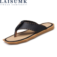 LAISUMK Genuine Leather Men Beach Slippers Fashion Flip Flops With Soft Sole Trendy Breathable Easy To Match Summer Shoes
