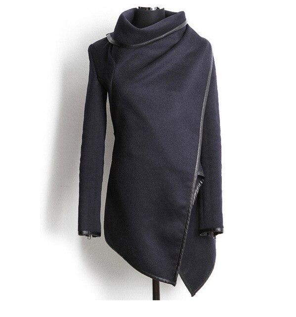 Asymmetric Half-Trench Style Woolen Coat
