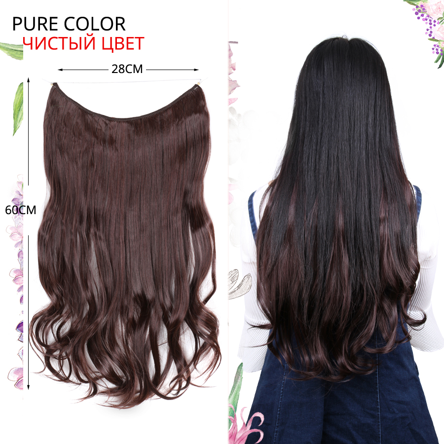 Leeons 24 inches Invisible Wire No Clips in Hair Extensions Ombre Secret Fish Line Hairpieces Real Natural Synthetic Hairpiece