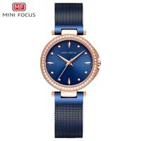 MINIFOCUS 2018 New Ladies Fashion Blue Rose Gold Watch Women Stainless Steel Quartz Wrist Watch Luxury Rhinestone Women Watches
