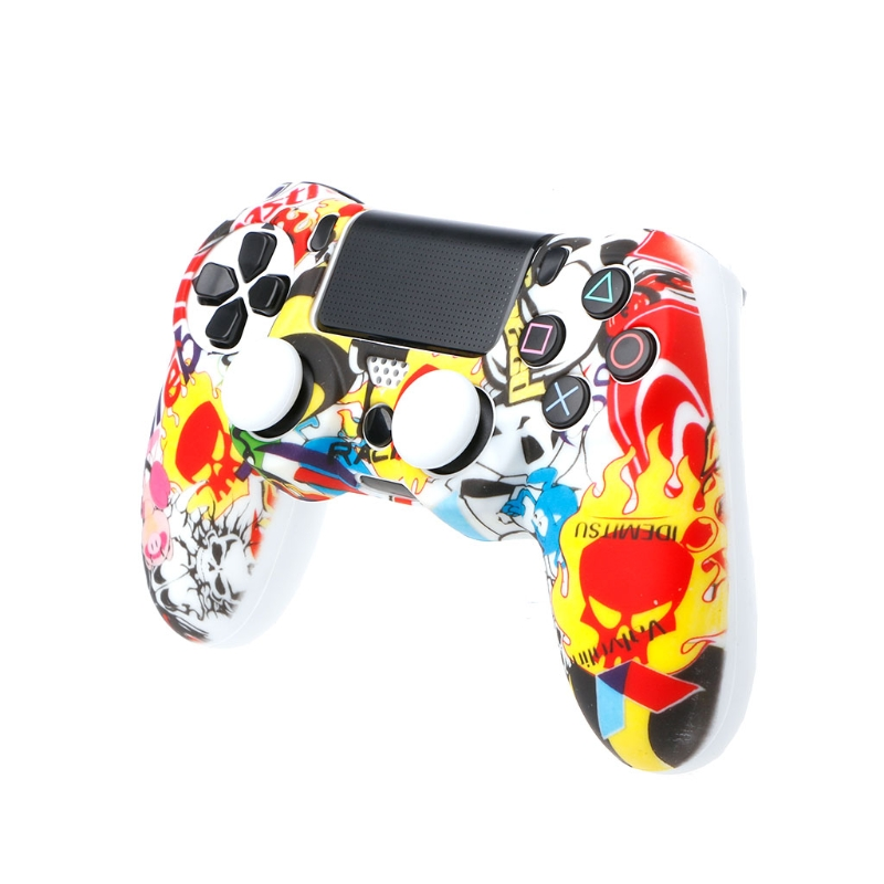 Gamepad Protection Soft Camouflage Guards Grip Cover + 2 Caps For PS4 Controller