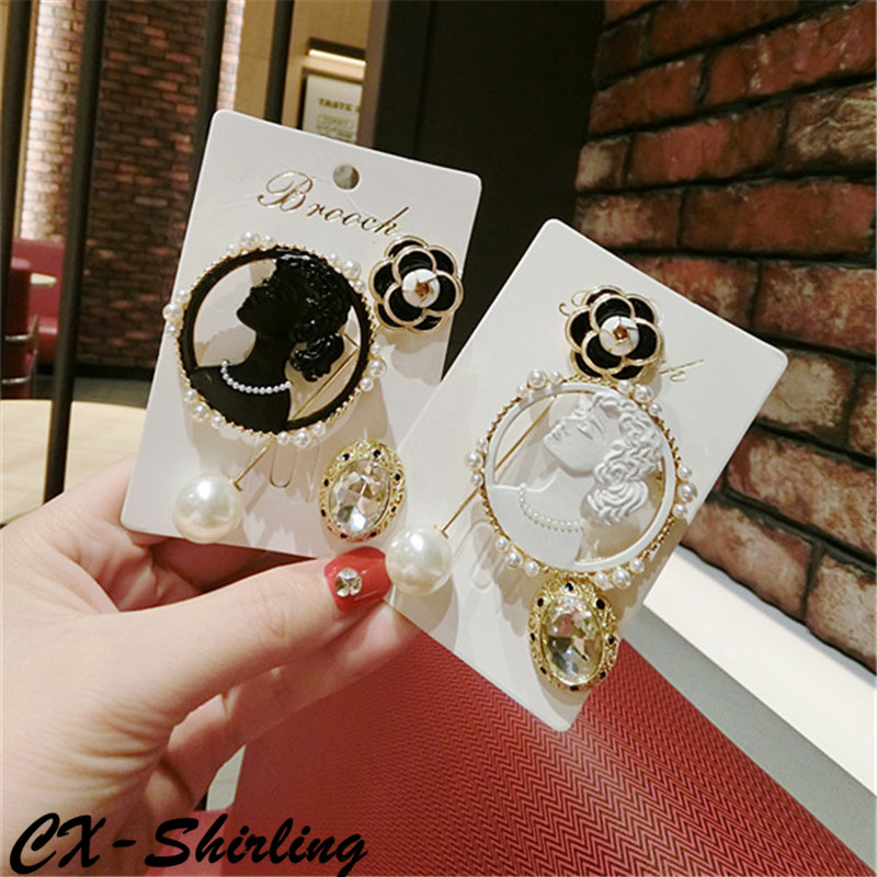 CX Shirling Women Antique Camellia Flower Lapel Pin Black White Antique Lady Head Pearl Brooches Pin Set Summer Winter Fashion in Brooches from Jewelry Accessories