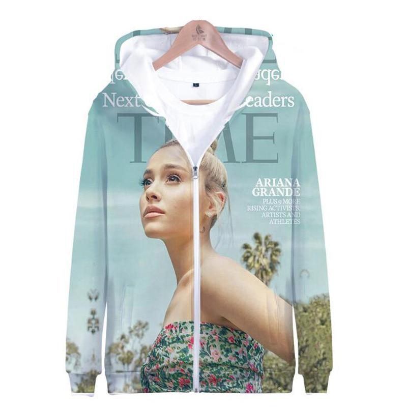Moletom KPOP Ariana Grande 3D Printed Women Hoodies Sweatshirts No Tears Left To Cry Long Sleeve Fleece Hooded Zipper Jacket Свитшот