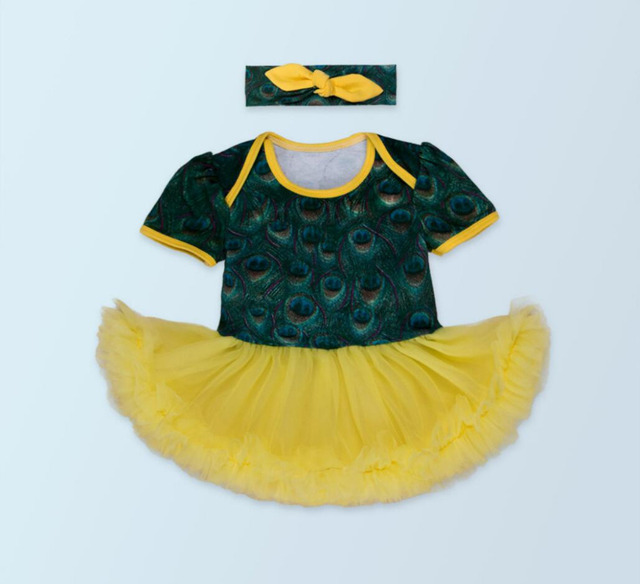 72550667eeb0 2PCs per Set Newborn Infant Girl Clothes Green Peacock Printed Baby ...