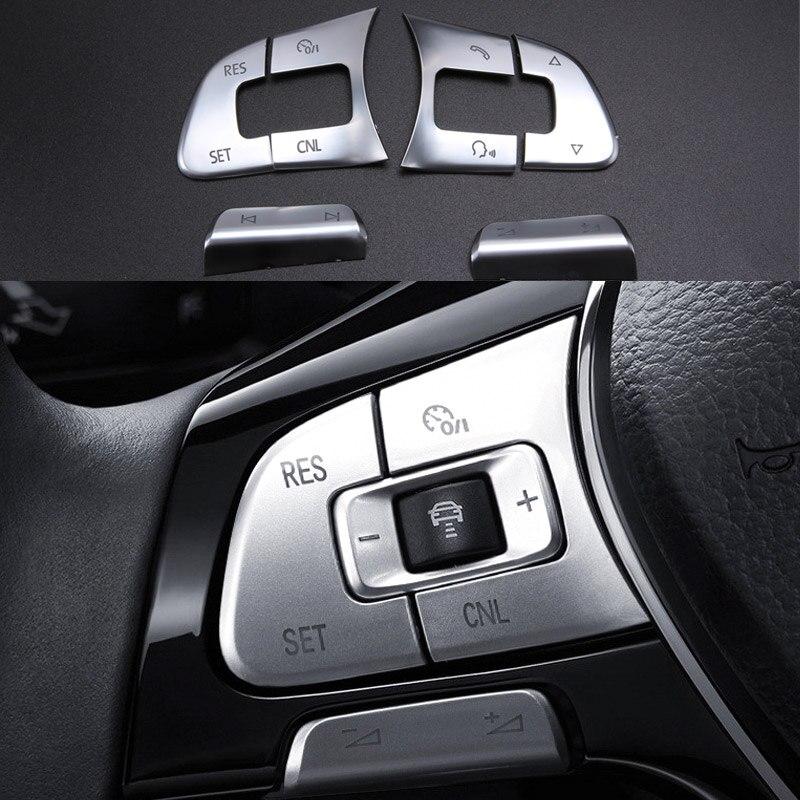6 יחידות לחצן הגה מכונית כרום ABS מדבקת כיסוי לקצץ ידית עבור חלק B8 B7 passat פולקסווגן פולקסווגן ג 'טה Tiguan CC גולף MK7