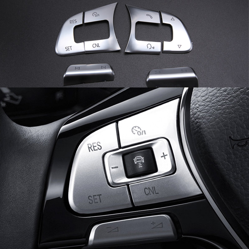 6pcs Chrome Car steering wheel Button knob trim Cover ABS sticker for some volkswagen VW passat B7 B8 JETTA Tiguan CC GOLF MK7 car wind 38 cm genuine leather car steering wheel cover black steering wheel cover for bmw vw gol polo hyundai car accessories