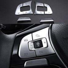 6pcs Chrome Car steering wheel Button knob trim Cover ABS sticker for some volkswagen passat B8 Variant Alltrack GOLF MK7